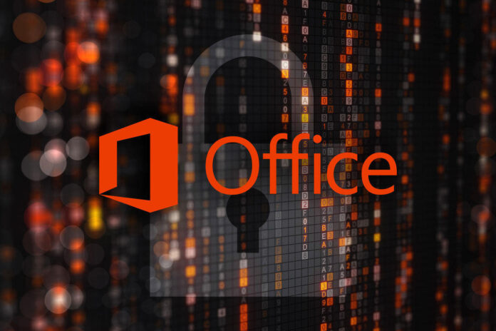 Microsoft Office logo in an environment of abstract encrypted code and a padlock overlay.