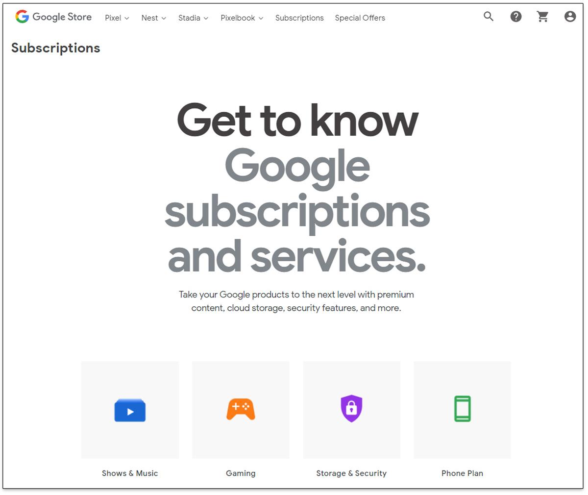 Suscripciones a Google Store