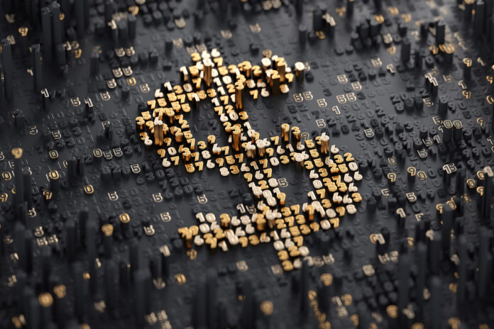 U.S. dollar sign consisting of abstract digits.