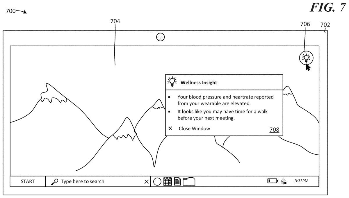 patente 2 de microsoft wellness insights