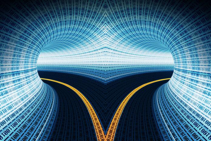 A split digital tunnel streaming binary code.
