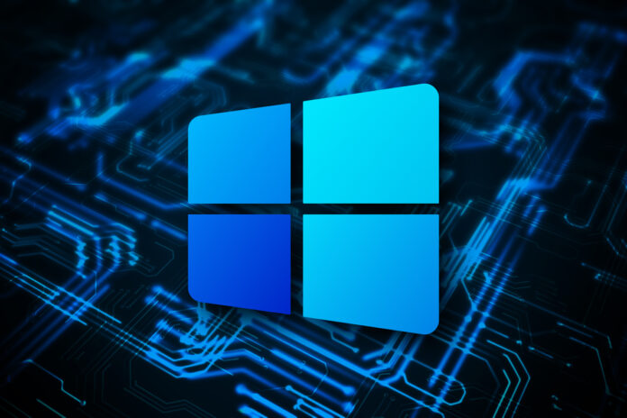 Microsoft Windows 10X logo, with glowing blue circuits in the background.