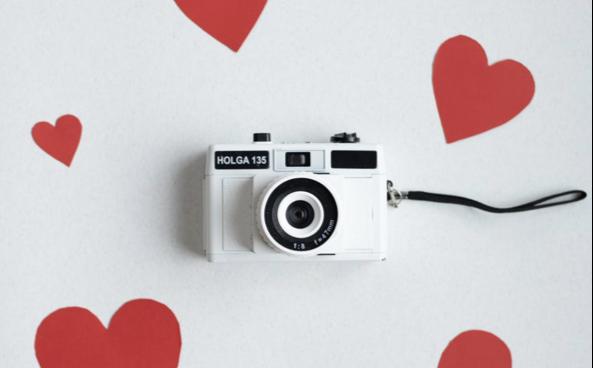 cámara de fotos corazones