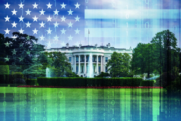 USA / United States of America stars + stripes and binary code superimposed over The White House